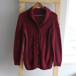 🌻Plum Red Chunky Knit Sweater Cardigan